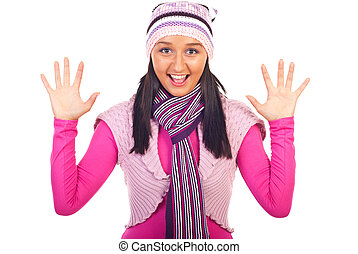 roupas, mulher sorridente, inverno, jovem