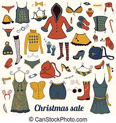 roupas, natal, jogo