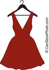 roupas, pequeno, cabide, vestido, preto vermelho