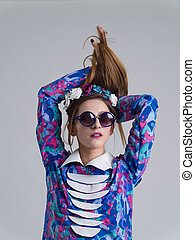 roupas, posar, mulher, óculos de sol, na moda