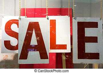 roupas, storefront, janela, com, cartaz venda