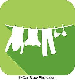 roupas, varal, penduradas