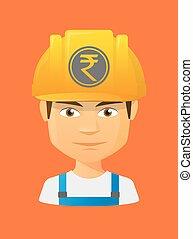 roupie, avatar, monnaie, ouvrier, icône