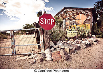 Old Route 66 signs somewhere in desert in Arizona