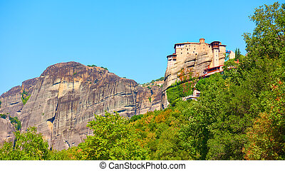 Rousanou nunnery on the cliff in Meteora, Thessaly, Greece...