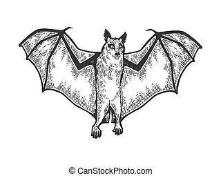 Rousettus Flying dog fox animal sketch engraving vector illustration. Tee shirt apparel print design. Scratch board style imitation. Black and white hand drawn image.