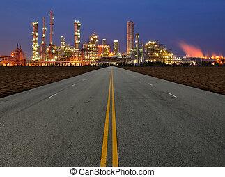 route, à, usine chimique