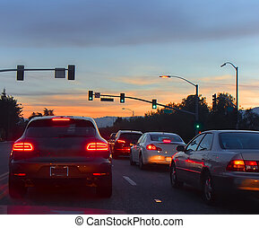 route, à, voitures, dans, soir, trafic