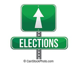 route, élections, illustration, signe