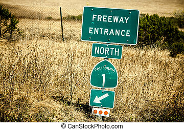 Route 1 sign, California