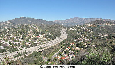 Aerial view of Route 2, Glendale, CA