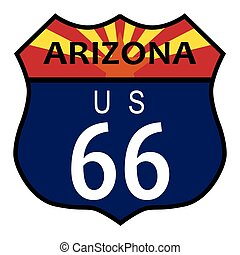 Route 66 Arizona - Route 66 traffic sign over a white...