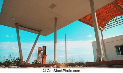 Route 66. crisis road 66 fueling slow motion video. Old...