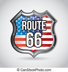 route 66 label over gray background vector illustration