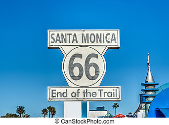 Route 66 end of trail sign in Santa Monica, California