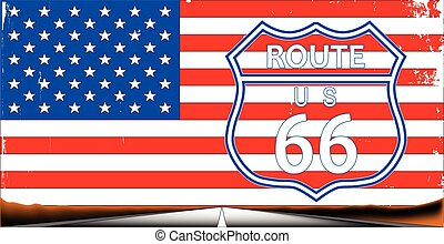Route 66 Flag - Route sixty six highway sign over a stars...