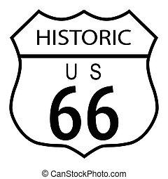 Route 66 traffic sign over a white background and the state legend historic