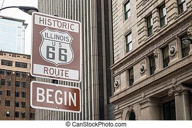 Route 66 Illinois Begin road sign, the historic roadtrip in USA