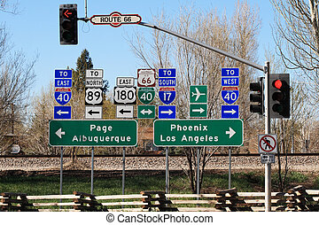 route 66 intersection signs in Flagstaff Arizona