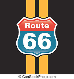 route 66 label over black background vector illustration