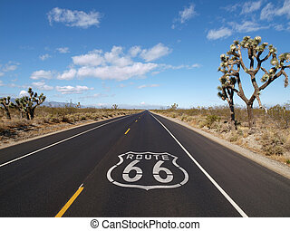 Route 66 crossing California's Mojave desert.
