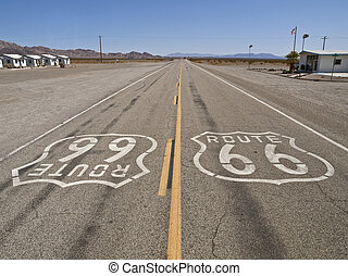 Route 66 Mojave Desert - Route 66 on a lonely stretch of...