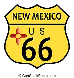Route 66 New Mexico Flag - Route 66 traffic sign over a...
