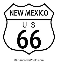 Route 66 New Mexico - Route 66 traffic sign over a white...