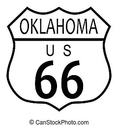 Route 66 Oklahoma - Route 66 traffic sign over a white...