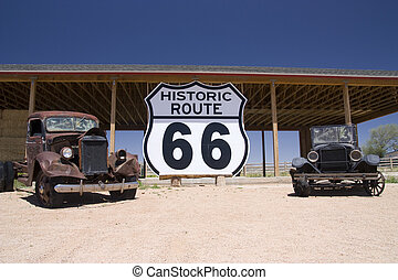 route 66 - Old car in the famous route 66 road in USA