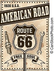 Route 66 poster in vintage style