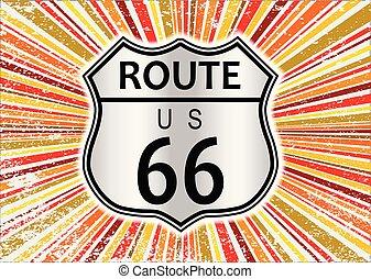 Route 66 Retro Grunge Splash Background