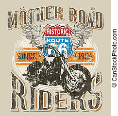 route 66 rider - crack illustration for shirt printed and...