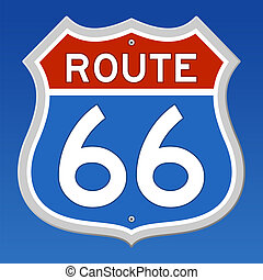 Blue and Red Sign of Route 66 on blue sky background