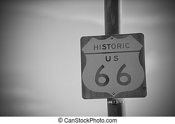 Route 66 Road Sign on the historic american highway
