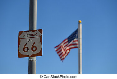 Route 66 Road Sign on the historic US highway