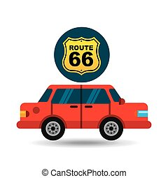 route 66 road sign sedan red