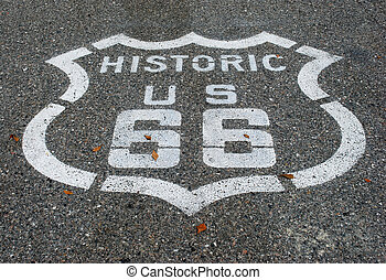 Route 66 road - Route 66 sign on asphalt road