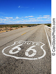 route 66 roadway - vertical image of route 66 road leading...