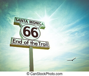 Route 66 Sign - Historic Route 66 sign at Santa Monica...