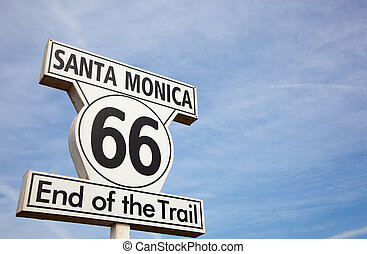 Route 66 highway sign at the end of Route 66 in Santa Monica California