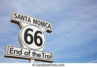 Route 66 sign in Santa Monica California