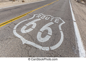 Route 66 Sign on Broken Pavement