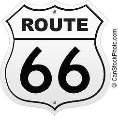 Route 66 sign on white