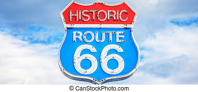 Route 66 sign - Panoramic view of famous Route 66 sign, USA