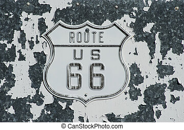 route 66 sign on ild textured wall