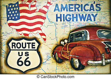 Route 66 sign with us flag, map and car