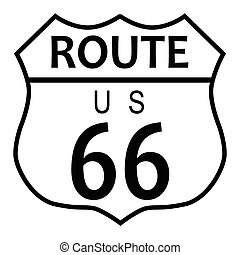 Route 66 traffic sign over a white background and the legend...