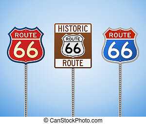 Route 66 Vintage Signs - Set of Historic Highway Roadsigns...