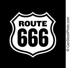 Route 666 Road Sign - Vector illustration of vintage Route...